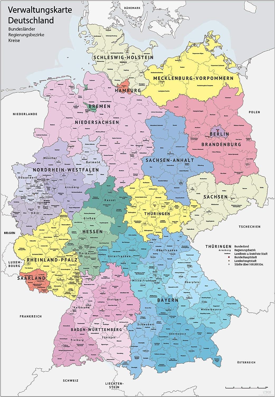 bundesländer grenzen karte XXL DIN B1 (1000 x 700 mm) Verwaltungskarte Deutschland