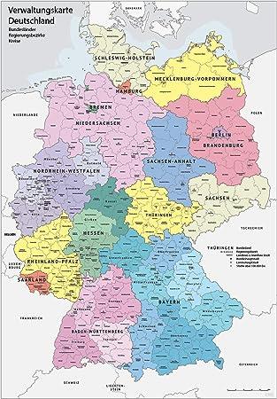 ländergrenzen deutschland karte XXL DIN B1 (1000 x 700 mm) Verwaltungskarte Deutschland