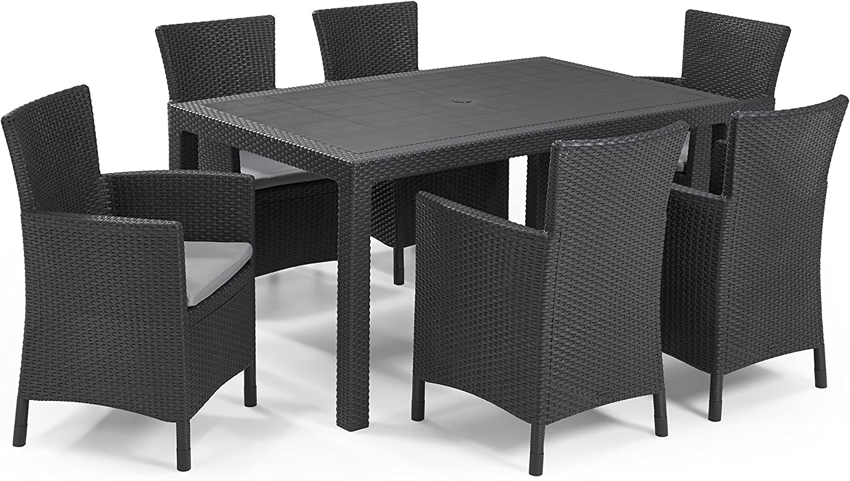 Keter - Set de mobiliario de jardín Melody/Iowa (mesa + 6 sillones), color grafito