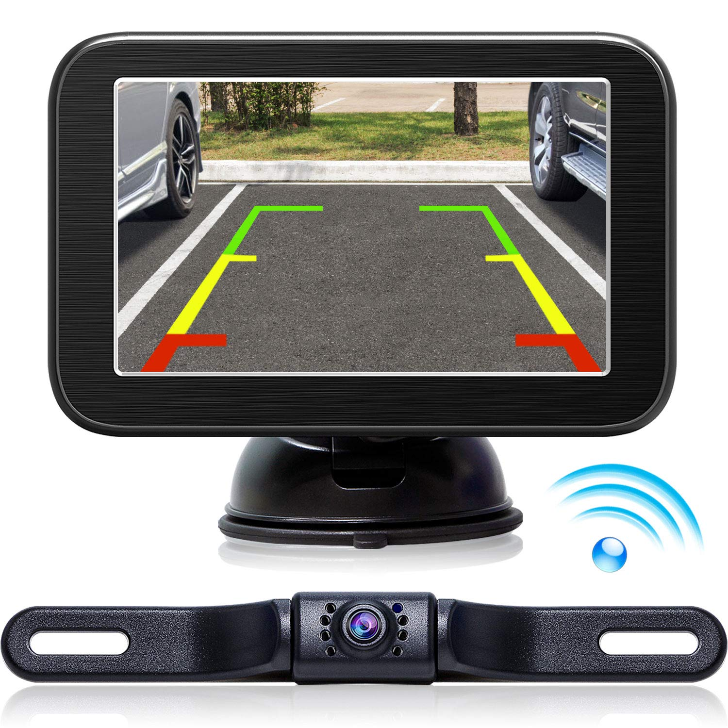 Wireless Backup Camera with Monitor System 5'' LCD Wireless Monitor Rearview Revering Rear View Back up Camera for Backing Parking Car Vehicle E5 eRapta E005