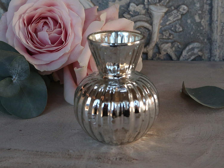SHABBY CHIC  WINDLICHT POKAL ROSE SILBER BAUERNSILBER NEU 9 cm