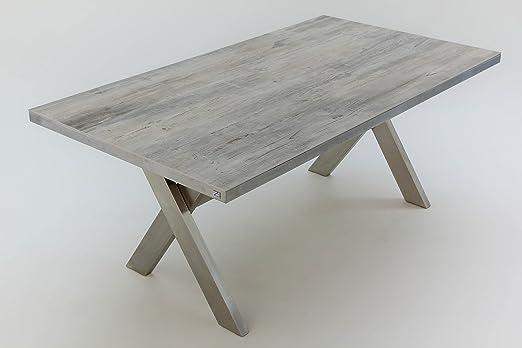 Acero inoxidable de X de soporte de mesa 180 x 100 cm, tablero ...