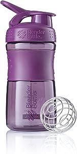 BlenderBottle SportMixer Tritan Grip Shaker Bottle, Plum/Plum, 20-Ounce
