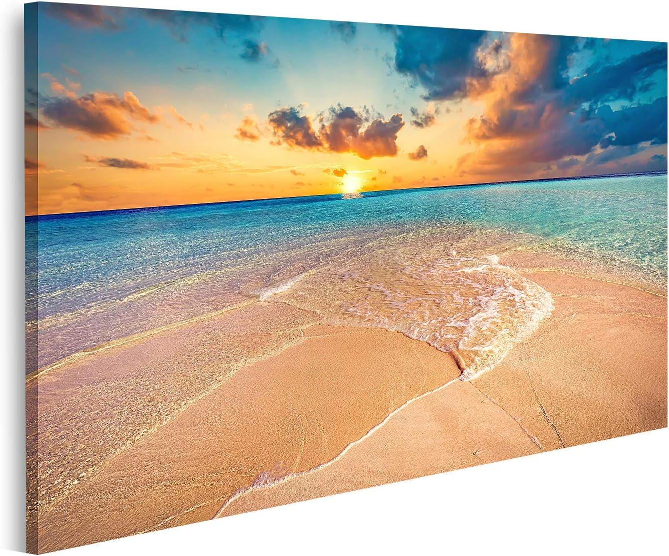 Cuadro en Lienzo Playa Tropical de Arena Blanca y océano Turquesa Claro Islas Maldivas Cuadros Modernos Decoracion Impresión Salon
