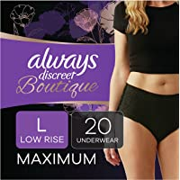 Always Discreet Boutique Low-Rise Postpartum Incontinence Underwear Size L Maximum Absorbency, Up to 100% Leak…