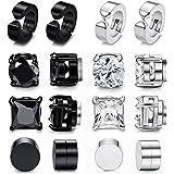XCOIN 8 Pairs Magnetic Stud Earrings for Men Women Stainless Steel Black CZ Magnet Non-piercing Clip On Earrings Set 6-10mm