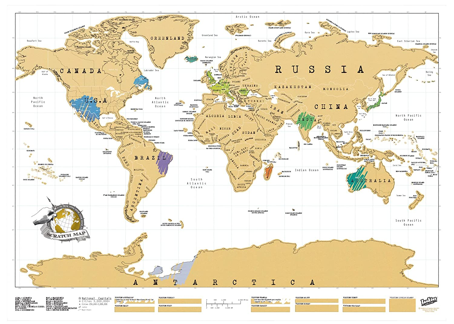 Scratch Map Original Personalised World Map By Luckies: Luckies Of London  Ltd: Amazon: Kitchen & Home