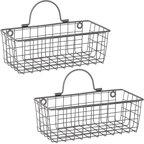 DII Z02021 Rustic Farmhouse Vintage Wire Wall Basket Set of 2 , Small, Gray