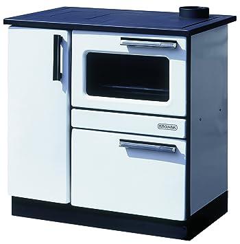 Estufa de cocina de leña para horno 9/15 kW PLAMAK esmalte blanco ...