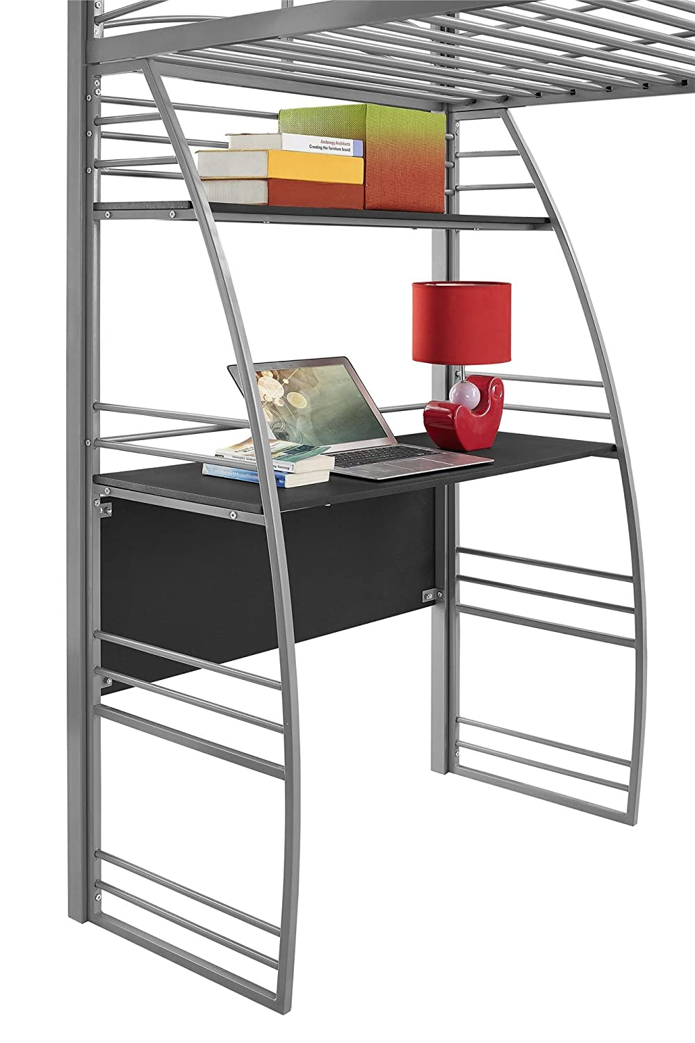 Amazon.com: DHP Studio Loft Bunk Bed Over Desk and Bookcase with Metal  Frame, Twin, Gray: Kitchen & Dining