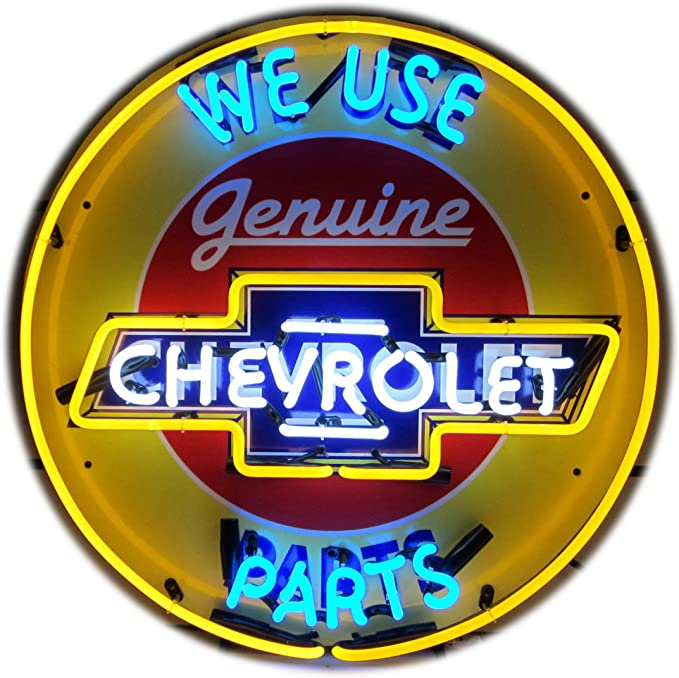 """19/"""" We Use Genuine Chevrolet Parts Sign Yellow Double Neon Clock Chevy"""