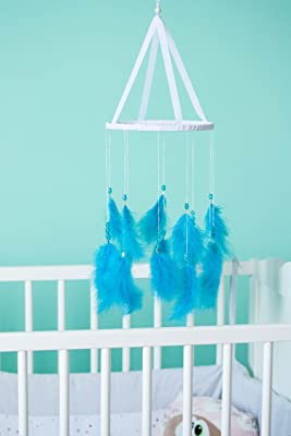 Crib Mobile for baby Boy ? Nursery Dreamcatcher with blue marabu feathers, glass beads and white doily lace. Diameter 8 inches (20 cm)