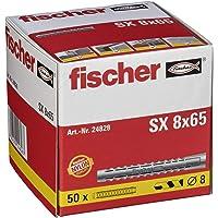 fischer Expansionsplugg SX 8 x 65, låda med 25 nylonpluggar, pluggar för optimalt grepp för fästningar i betong…