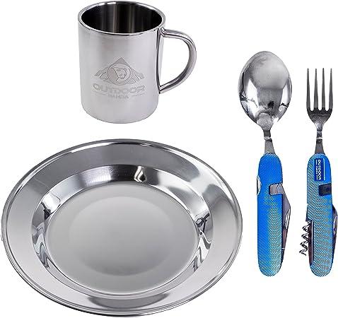 Juego de vajilla de acero inoxidable para 1 persona, con plato hondo, taza de doble pared y cubiertos (6 en 1), ideal para picnic, trekking, ...
