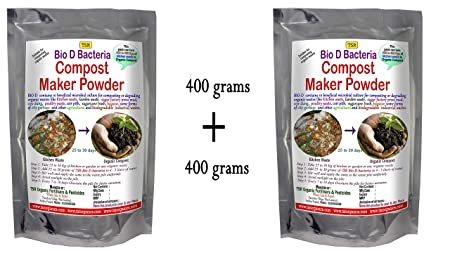 Compost Maker Powder Bio D Bacteria 800 Grams (400 + 400 GMS) to Convert All Kitchen Waste to Organic Compost Fertilizer or Manure. Composting of Garden/Kitchen / Farm Waste, Used Compost bi