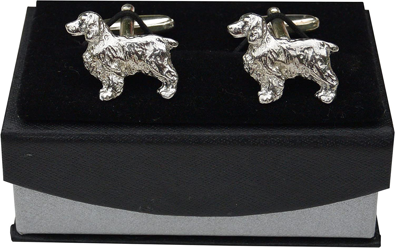 Springer Spaniel Dog Pewter Cufflinks Man/'s Xmas Gift