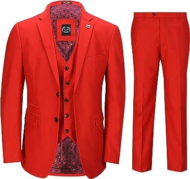 Xposed Herren 3 Stück Anzug in Rot Stilvolle Formal Hochzeit