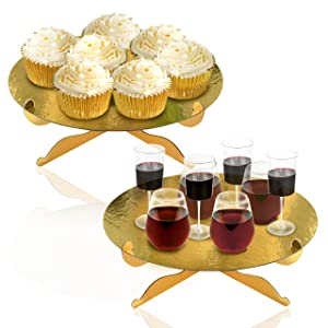 1-Tier Gold Round Cardboard Cupcake Stand Dessert Stand Reusable Birthday Wedding Festival Decoration Mini Cake Stand