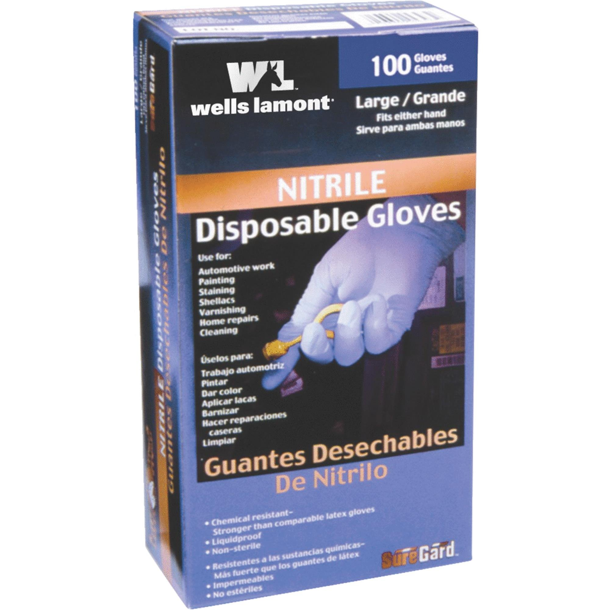 Wells Lamont 153 100-Count Disposable Nitrile Gloves Gloves, Household Rubber