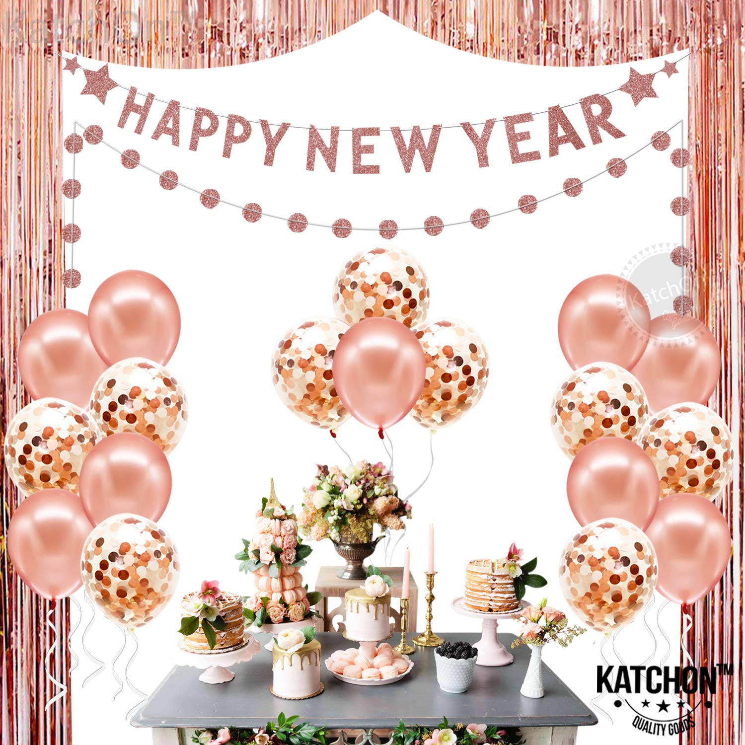 Rose Gold New Years Eve Backdrop Banner Happy New Year Decorations Rose Gold Fringe Foil Tinsel Backdrop| Confetti Balloons Happy New Year Banner Garland Sign |New Years Eve Party Supplies 2020