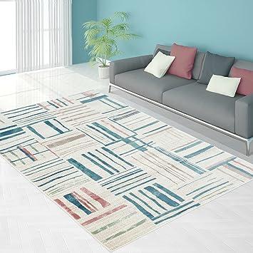 Teppich Modern Designer Wohnzimmer Schlafzimmer Läufer Inspiration Just  Karo Pastell Blau Beige NEU, Größe In