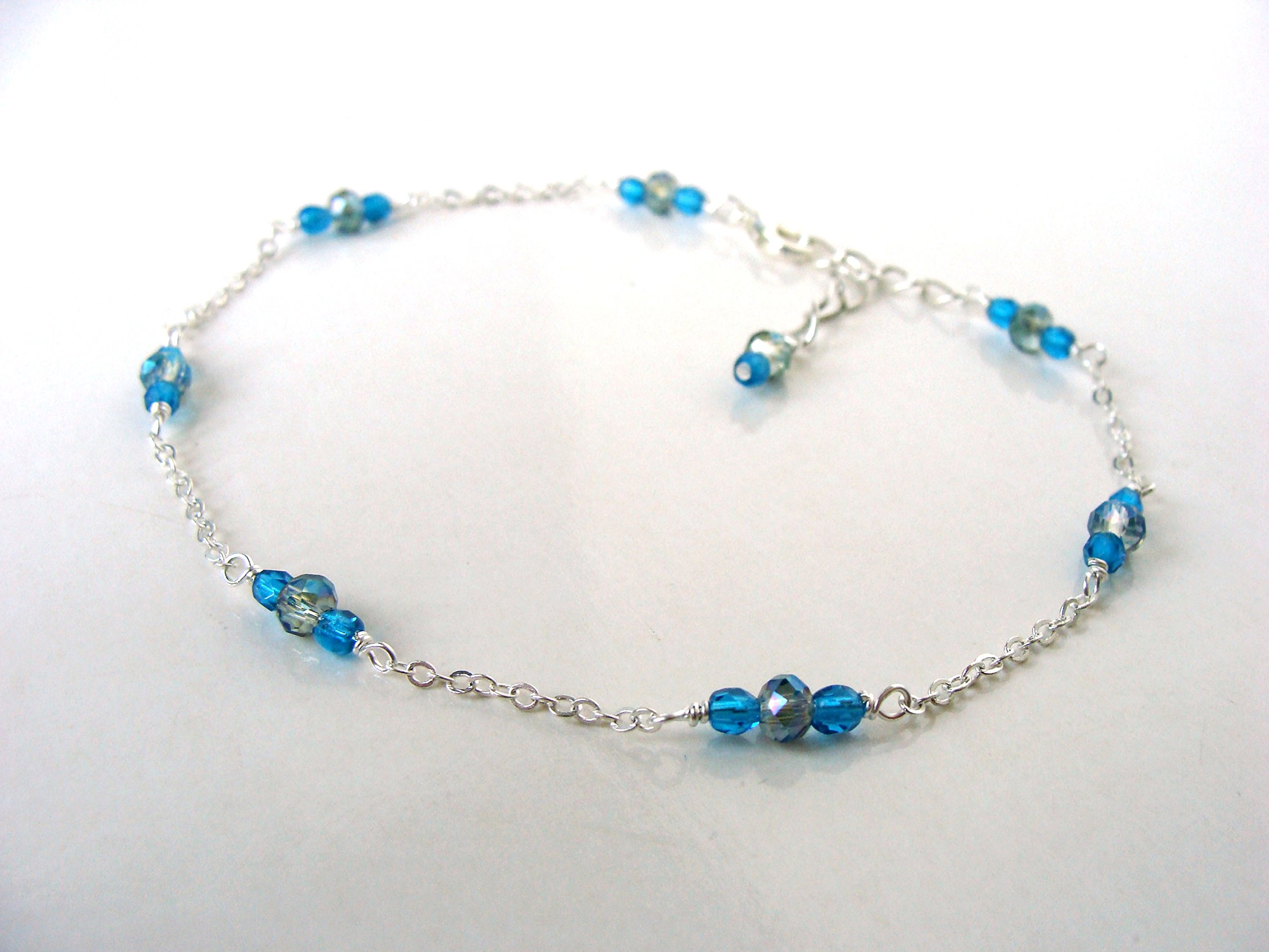 ngacraft Aqua blue-green glass bead anklet, dainty summer mermaid ocean colors. silver metal. adjustable, handmade, Let Loose Jewelry, under 15