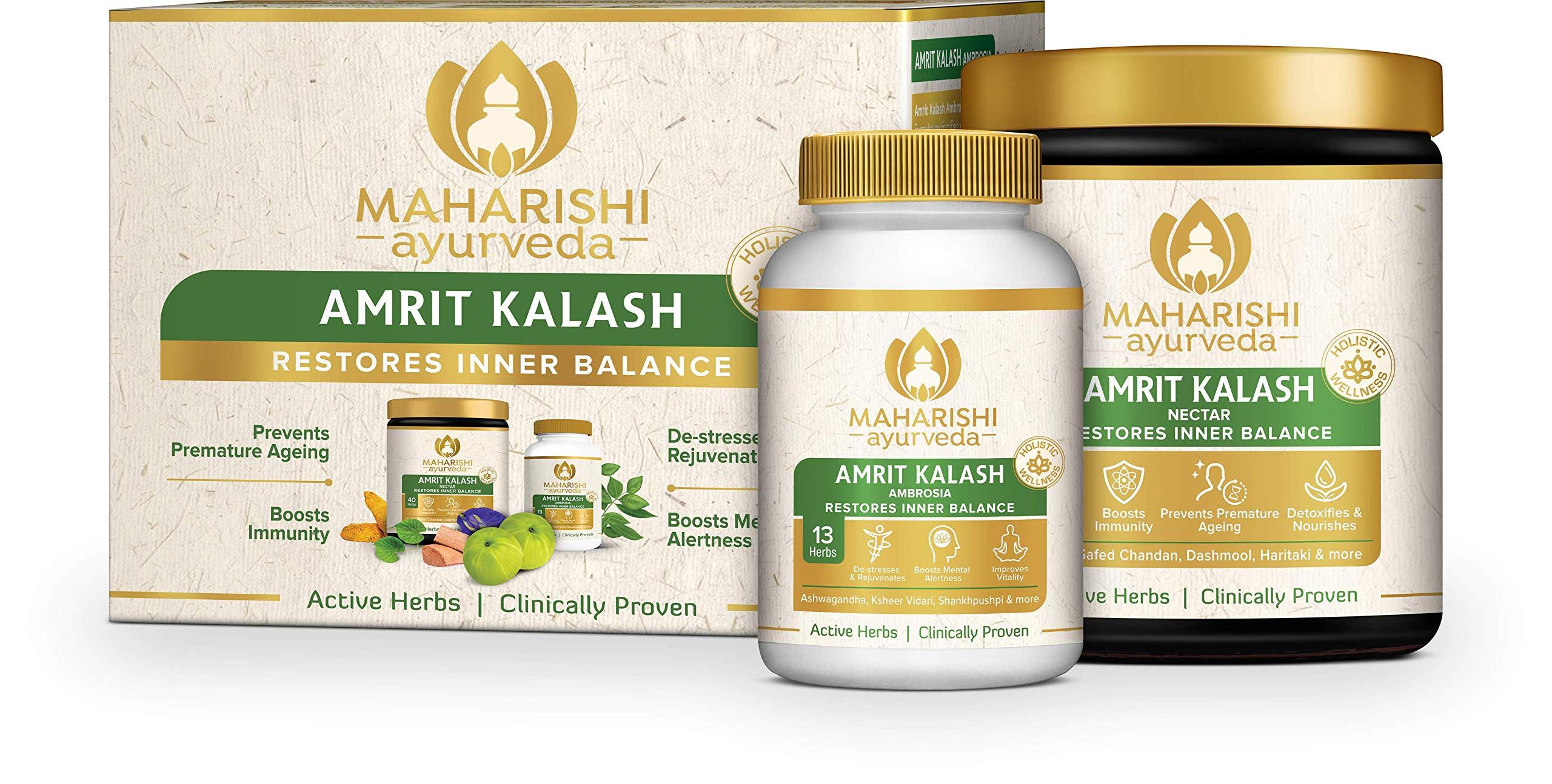 Maharishi Ayurveda Amrit Kalash: Ayurvedic Medicine For Stress & Anxiety, Includes Nectar (600g Paste) & Ambrosia (60 Tablets).