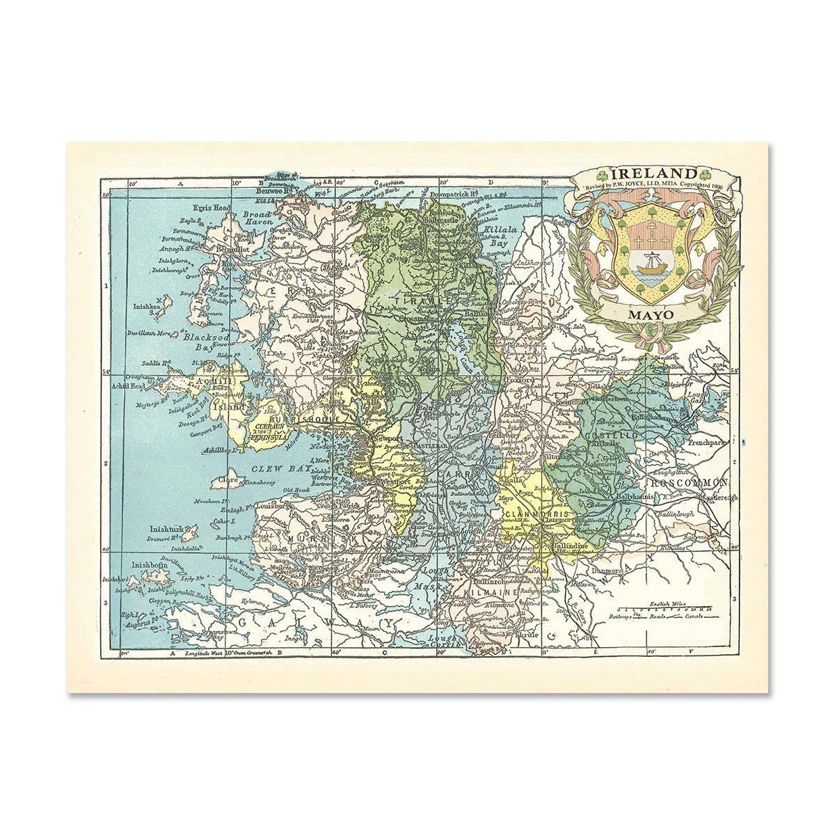 Print Map Of Ireland.Amazon Com Mayo County Map Of Ireland Antique Reproduction Print