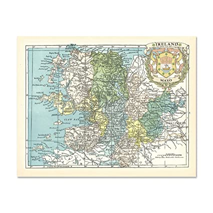 Map Of Ireland Mayo.Amazon Com Mayo County Map Of Ireland Antique Reproduction Print