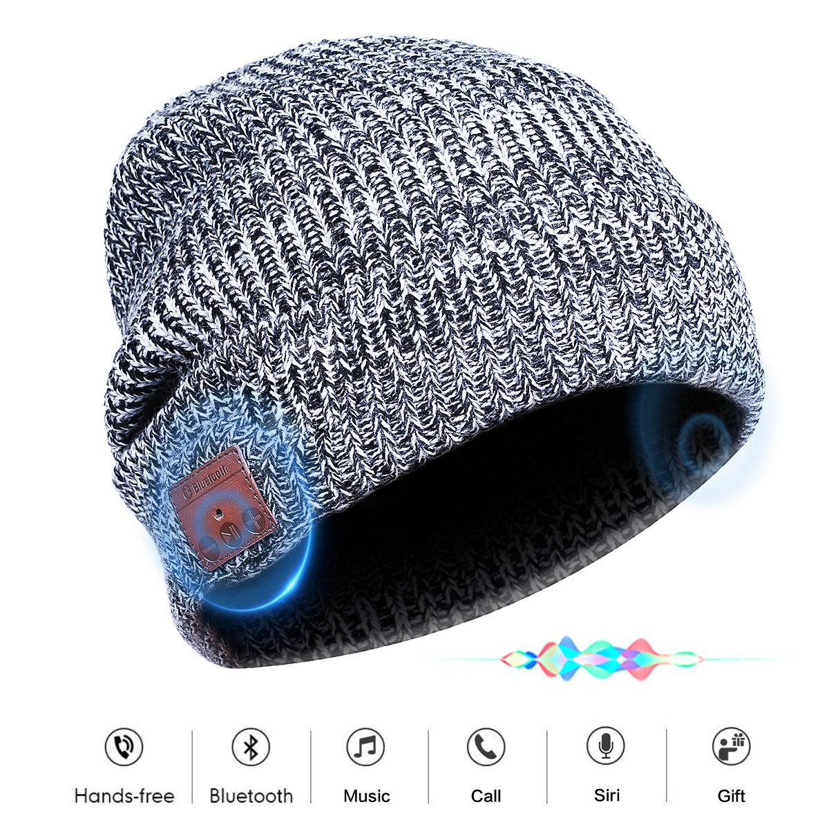 Bluetooth Beanie Hat Headphones Headset, Wireless 4.1 Siri Voice Control Built-in HD Stereo Speakers & Microphone, Musical Knit Cap for Running, Outdoor Sports, Boys Girls Christmas Gifts(Gray) VOUO 008