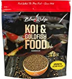 "Blue Ridge Fish Food Pellets, Koi and Goldfish Growth Formula Blend, Mini 1/8"" and Standard 3/16"" Floating Pellet, Balanced Diet"