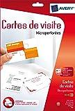 Avery 250 Cartes de Visite à Bords Micro Perforés - 85x54mm - Impression Jet d'Encre - Blanc (C32010)
