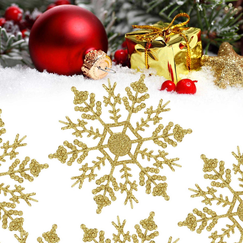 Fiocchi di neve Glitter, 24 Pack Fiocco di neve Forma Ornamento Ornamento Decorazione di Natale Decorazioni di Natale Accessori di Natale (Oro)