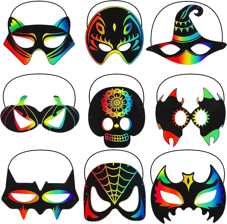 36 Pieces Halloween Scratch Masks Rainbow Scratch Paper Art Mask Skeleton Cat Witch Pumpkin Bat Mask Decorations for Halloween Party Crafts Birthday Classroom