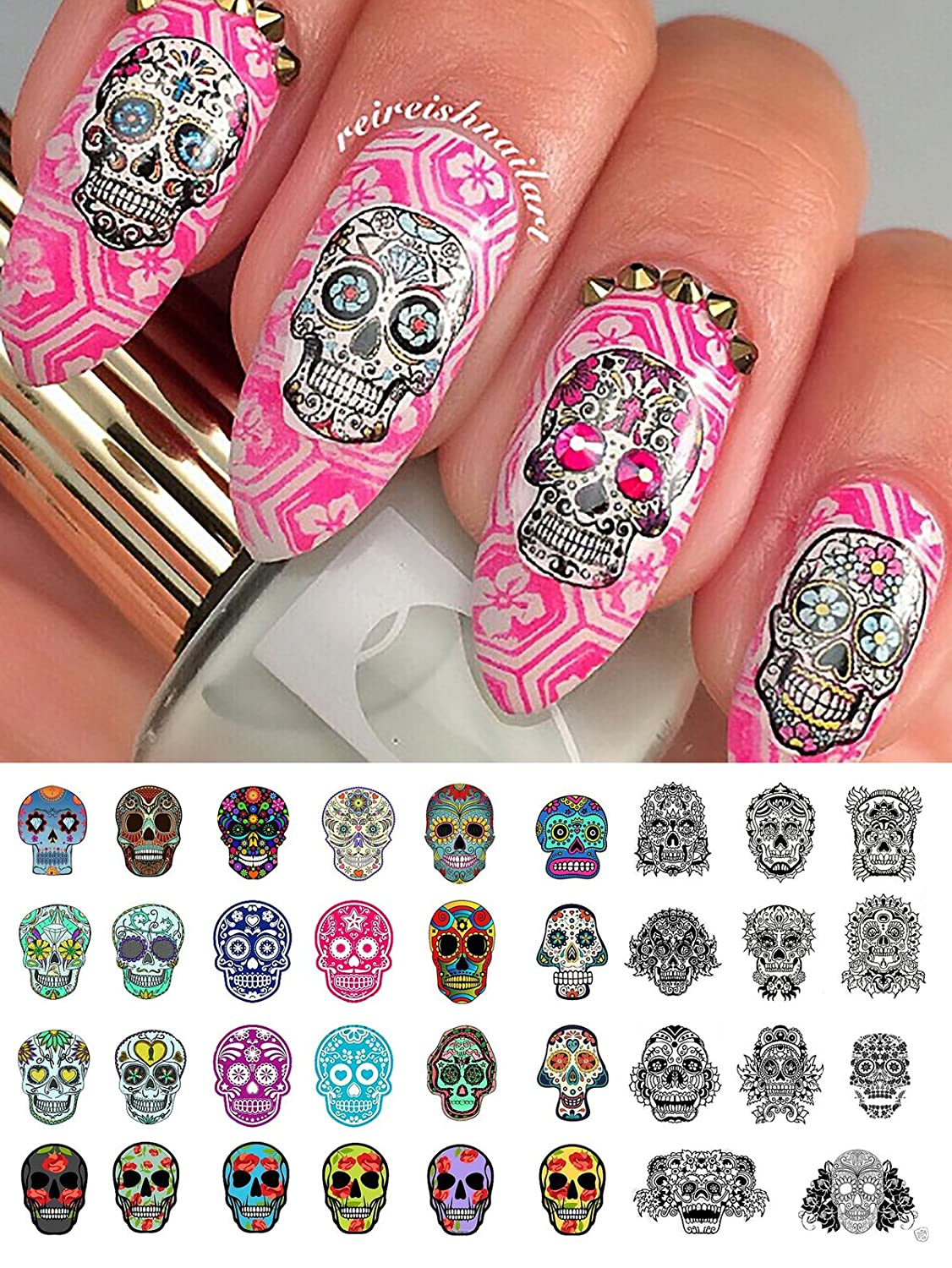 Amazon.com: Sugar Skull Nail Art Day of the Dead Decals Assortment #3 -  Featured in Rachael Ray Magazine October 2014!: Beauty - Amazon.com: Sugar Skull Nail Art Day Of The Dead Decals Assortment