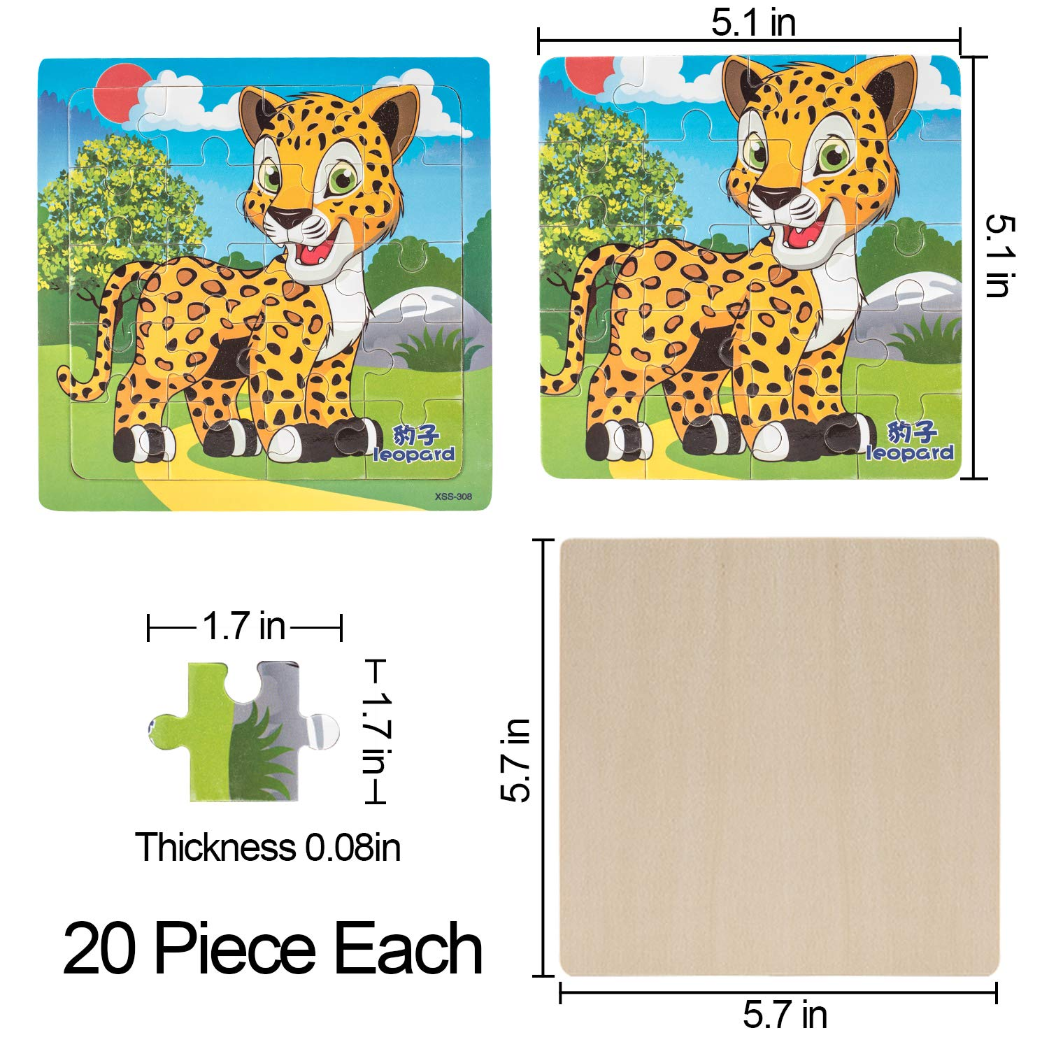 DREAMT 4 Pack Jigsaw Puzzle Toys Cartoon Animal Educational Toy for Kids