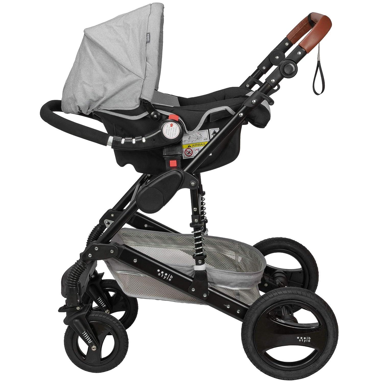 ib style/® SOLE 3 in 1 Kombi Kinderwagen 0-15kg |Grau//Gestell: Schwarz Regen- /& M/ückenschutz inkl Zusammenklappbar inkl Auto Babyschale