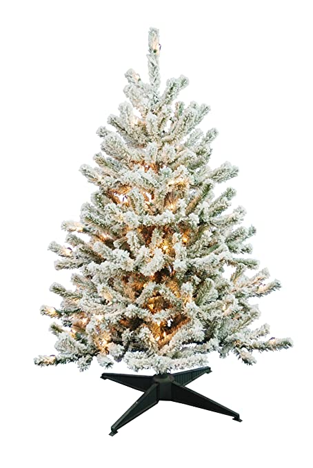 Amazon.com: Barcana 4-Foot Flocked Tabletop Christmas Tree with 100 ...