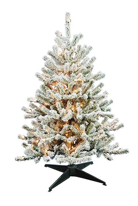 barcana 4 foot flocked tabletop christmas tree with 100 clear mini - 4 Foot White Christmas Tree