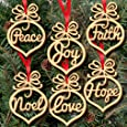 6Pcs Christmas Ornament ,Decorations Wooden Ornament Xmas Tree Hanging Tags Pendant Decor MML (multicolour)