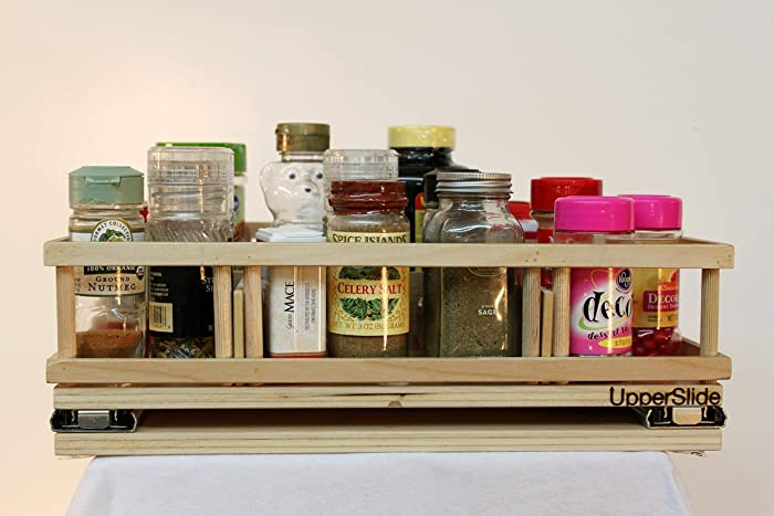 UpperSlide Cabinet Caddies Large Spice Rack Pull Out Caddy Upper Cabinet  Storage Fitting Most 18 Inch
