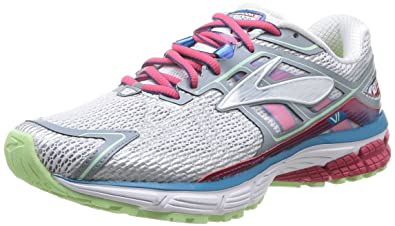 Brooks Women's Ravenna 6 White/Raspberry/Paradise Green Mesh Running Shoes  8 B(