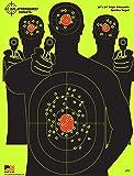Splatterburst Targets - 18 x 24 inch - Triple Silhouette Reactive Shooting Target - Shots Burst Bright Fluorescent Yellow Upon Impact - Gun - Rifle - Pistol - AirSoft - BB Gun - Air Rifle