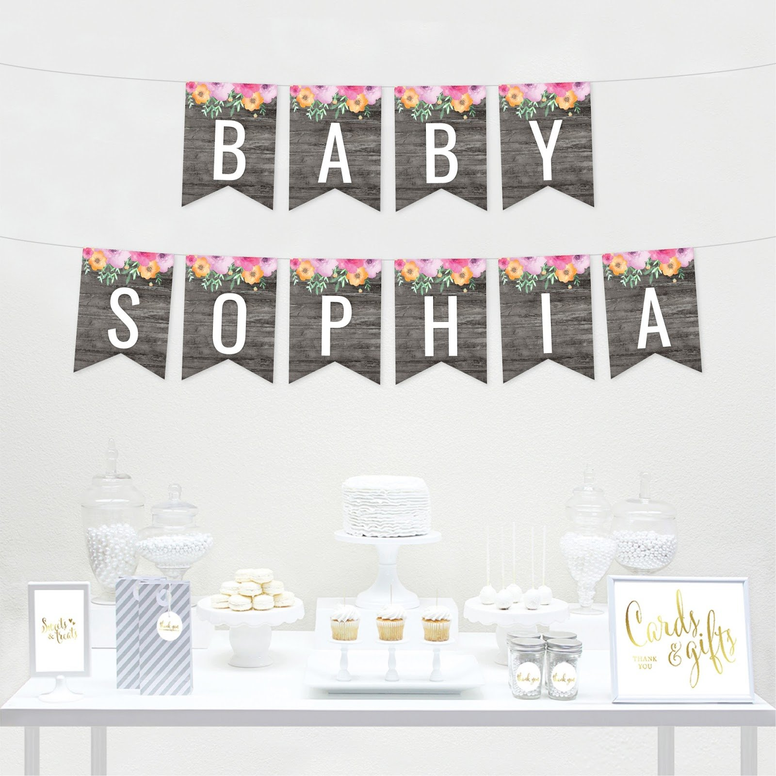 Andaz Press Personalized Modern Gray Wood with Flowers Party Banner Decorations, Baby Sophia, Custom Baby Name, Approx 5-Feet, 1-Set, Baby Shower Floral Colored Hanging Pennant Decor by Andaz Press (Image #2)