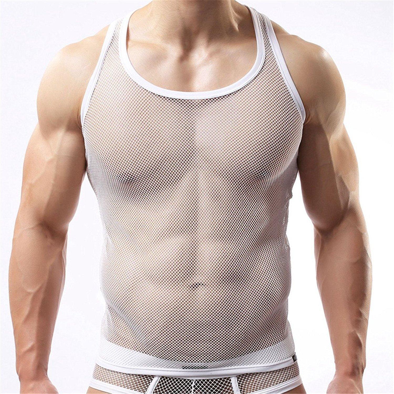 Freebily Herren Netzhemd Netzshirt Männer Tansparent Shirt Unterhemd Wetlook Top Slim Fit Clubwear Underwear aus Mesh