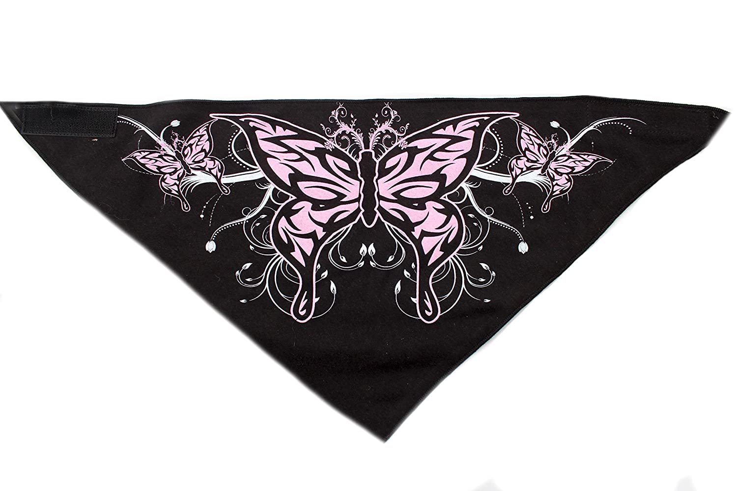 Biker Face Mask Black & Pink Butterfly Bandana by Hiphopville