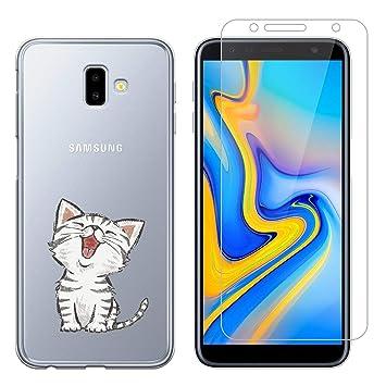 Funda Samsung Galaxy J6 Plus Lindo Gato Suave TPU Silicona Anti-rasguños Protector Trasero Carcasa para Samsung Galaxy J6 Plus 2018 (6.0 Pulgada) con ...