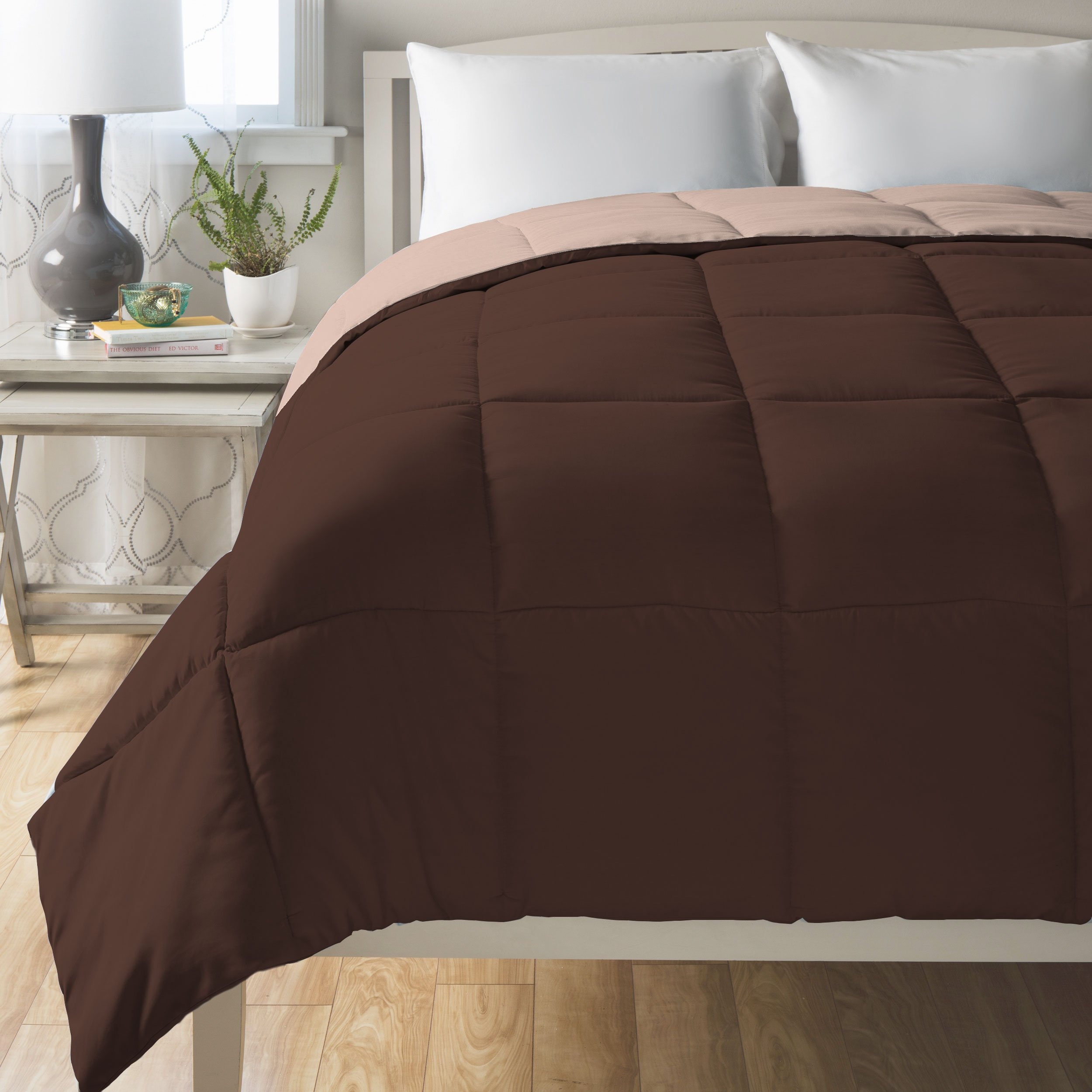 All Season Hypoallergenic King Comforter - Down Alternative Mocha-Taupe Reversible Duvet by Cheer Collection