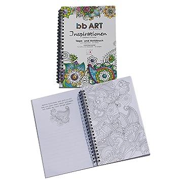 bb Art Malbuch und Tagebuch 2 in1 für Erwachsene und Kinder mit ...
