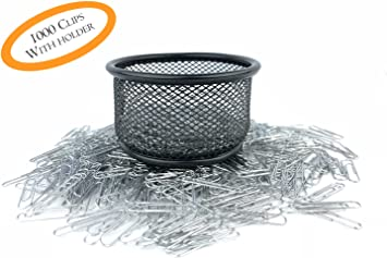 Paper Clips Silver Paper Clips for Office and Personal Document Organization 1000 Pcs with Free Mesh Paper Clip Holder Regular Paper Clip Organizer Included